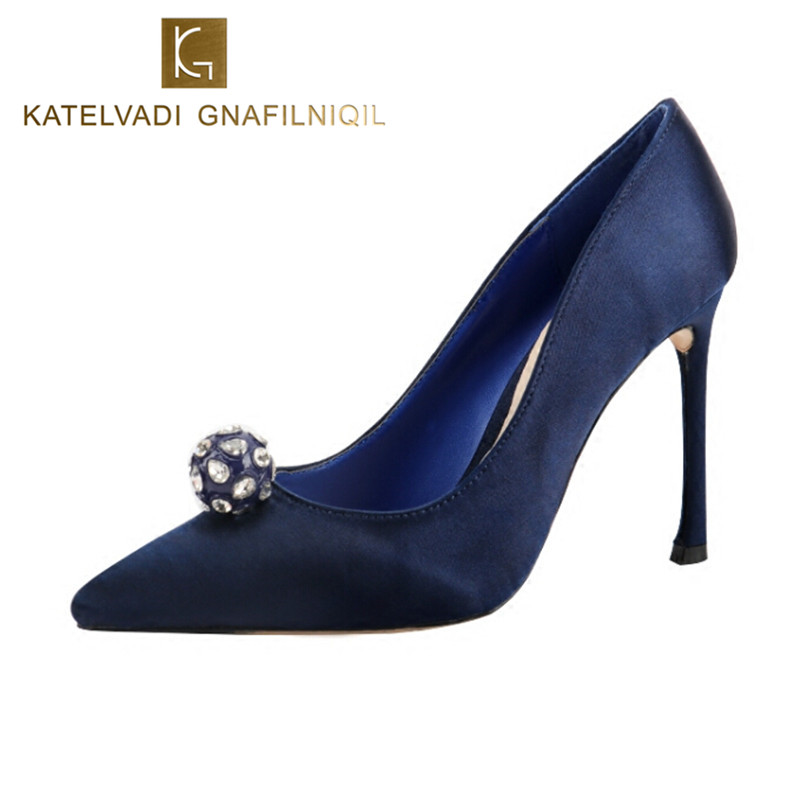 2018 Shoes Woman High Heels Luxury Designer Shoes Pumps 10CM High Heels Blue Shoes Crystal Wedding Shoes For Women Heeled B-0240<br>