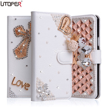 For SONY Xperia E5 Case Wallet Stand Flip PU Leather Case For Sony Xperia E5 F3311 F3313 Diamond Handmade Bling Cover Phone Bags(China)