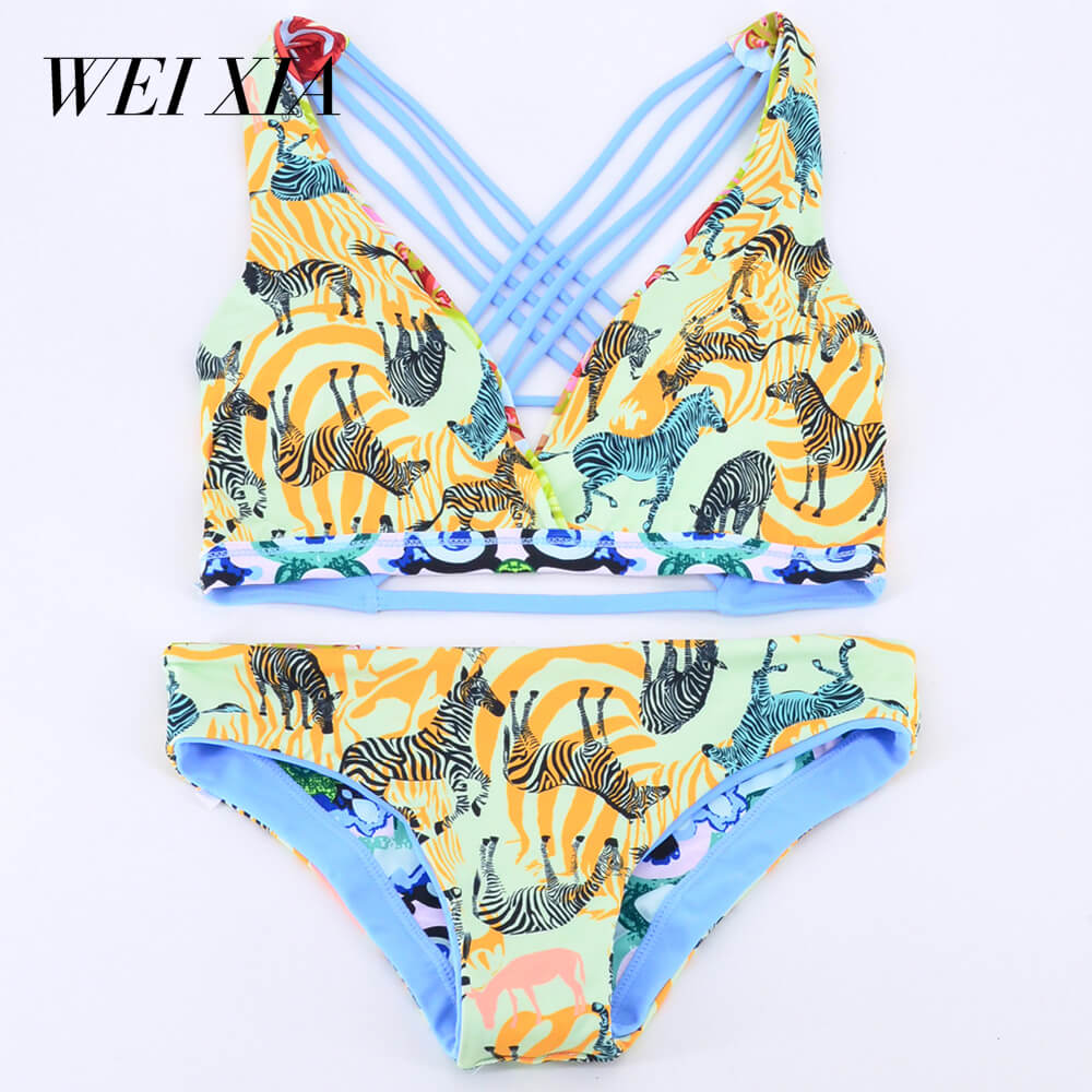 WEIXIA  2018 Women Swimwear Bikini New arrivl Sets Padded Lacework  Pieces Swimsuits Printing Strappy Cross Back Padding Bikini <br>
