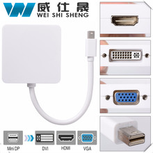 3 in1 Thunderbolt Mini DP Displayport to HDMI DVI VGA Adapter Cable for MacBook Pro