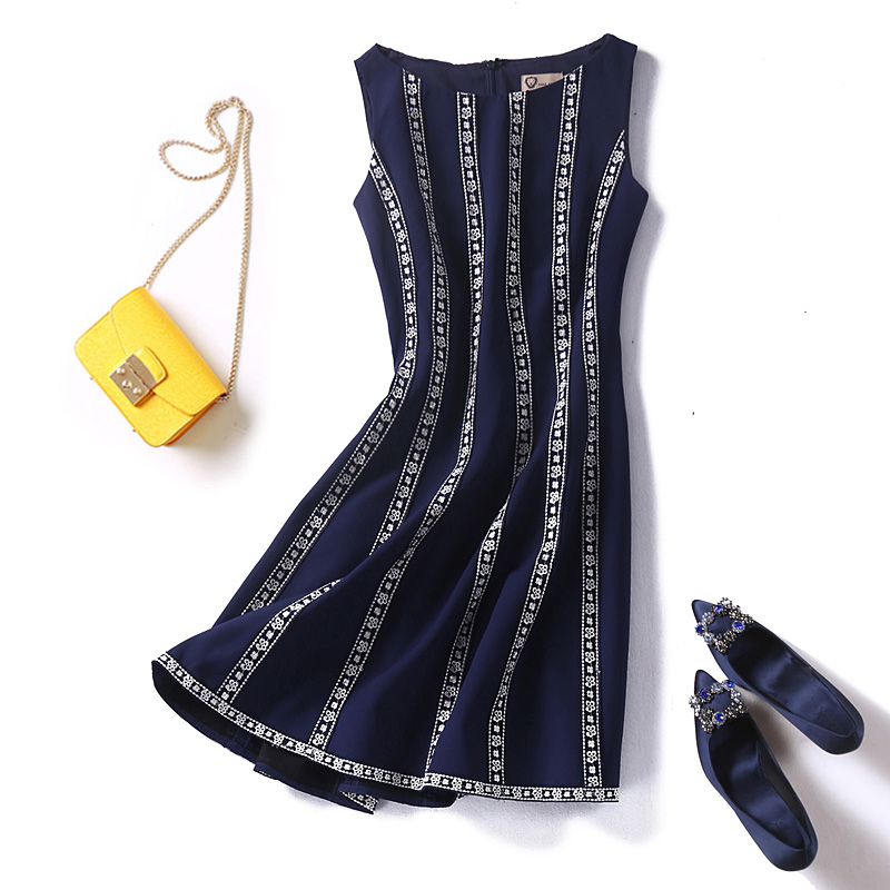 Women fashion elegant floral striped embroidery dress sleeveless a-line dresses new 2018 blue plus size XXL