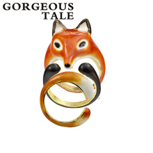 GORGEOUS TALE Trendy Three Sets Animal Ring Fox Ring Set Open Creative Ring For Women Fashion Jewelry 2017 Party Gift