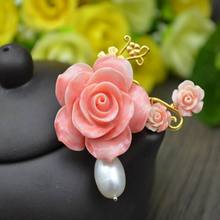 ib3257 Natural pink Coral Flowers with pearl pendant can used as brooch also,fashion elegant women jewelry,Jewelry accessories