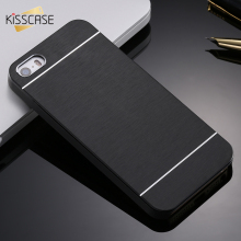 KISSCASE Aluminum Metal Brush Case For iPhone 4 4S 5 5s Mobile Phone Back Cover Hybrid Protective Back Cover For iPhone 4 5s SE