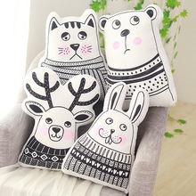 Nordic Pillow Kids Stuffed Toys Doll Rabbit/Bear/Dear/Cat Pattern Print Pillow Black and White Decorative Cushion Christmas Gift(China)