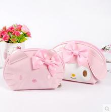 Bowknot Cartoon Hello Kitty My Melody Bathroom Waterproof Pu Makeup Storage Bag Organizer Best For Travel Or Beach