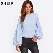 SHEIN Exaggerated Lantern Sleeve Keyhole Back Top Blue Casual Womens Long Sleeve Tops Autumn Womens Tops and Blouses(China)