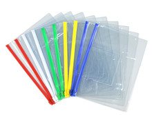 200 pcs A6 Transparent Plastic Colorful Zipper Paper File Folder Book Pencil Pen Case Bag File Document Bags