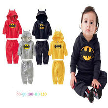 Autumn 2015 Batman Gray Sports Costumes Childrens Childhood Fantasy Boy Jacket Pants Baby Clothes Sets Toddler Boys Clothing