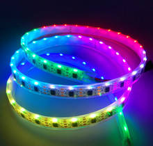 DC5V WS2811 IC controlled 335 side emitting LED digital strip;addressable RGB color;60leds/m;WHITE PCB;IP68;epoxy resin filled