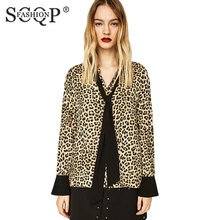 SCQP FASHION Leopard Print Bow Design Ladies Shirts Long Sleeve Lapel Casual Loose Tops Patchwork Autumn Brand Women Blouses(China)