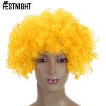 2017 FESTNIGHT Adult Yellow Clown Afro Wig Curly Synthetic Hair Halloween Masquerade Cosplay Costume Football Fans Wig