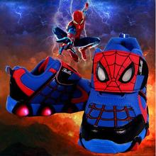 New Autumn Spring Children Shoes Spiderman Night Flash Sports Sneakers Light Shoes for Kids Children's Sneaker Boys boots Girls