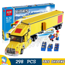 298pcs City Airport Great Vehicles Yellow Truck Model Building Blocks 02036 Assemble Bricks Children Toys Compatible With Lego(China)