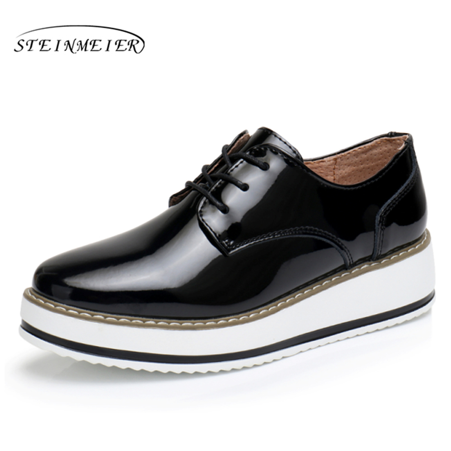 Patent Leather wings vintage Oxford Lace Up red beige white black Muffin bottom Vintage oxford flat women shoes US 8<br>