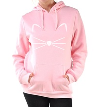 kawaii KITTY KITTEN pink tracksuits Women Casual fleece loose fit hoodies female fashion harajuku pullovers brand clothing 2017