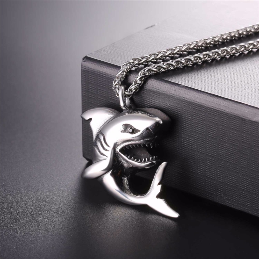 """Punk Shark"" Stainless Steel Shark Necklace / Chain 5"