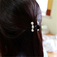 LNRRABC  2 Sizes  Black Crystal Pearl Rhinestone Plastic Hair Clip Claw Barrettes Crab Clamp Girl Women's Hair Accessories