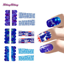 Xmas Nail Art Christmas Nail Sticker Sets Blue Color Water Decals Snow Design Full Nail Wraps Decoration Nails Accessoires 6pcs