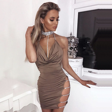 Buy 2018 Women Sexy Halter Crystal Sequin Dress Backless Metallic Diamond Bandage Club Bodycon Dress Party Christmas Dresses Red