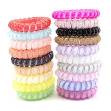 Fashion Solid Color 5cm Hair Bands Hair Accessories Telephone Line Good Elastic Gum Spring Scrunchy Hair Rope for Women Gril