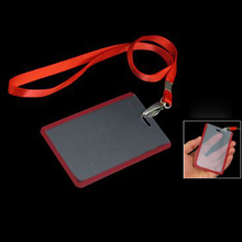 5PACK 2 Pcs School Office Red Lanyard Vertical B8 ID Name Badge Card Holders(China)