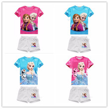 2-8 yrs New 2017 Summer Baby Girls Elsa Anna Clothes Kids Suit T-shirt +pants 2pcs Kids Childrens Clothing Sets girls sport suit