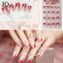 JQ 24pcs/set Beauty Pre Design Nail Tips Acrylic Nails Full French nail tips 3d False Nail With Free Glue JQ030