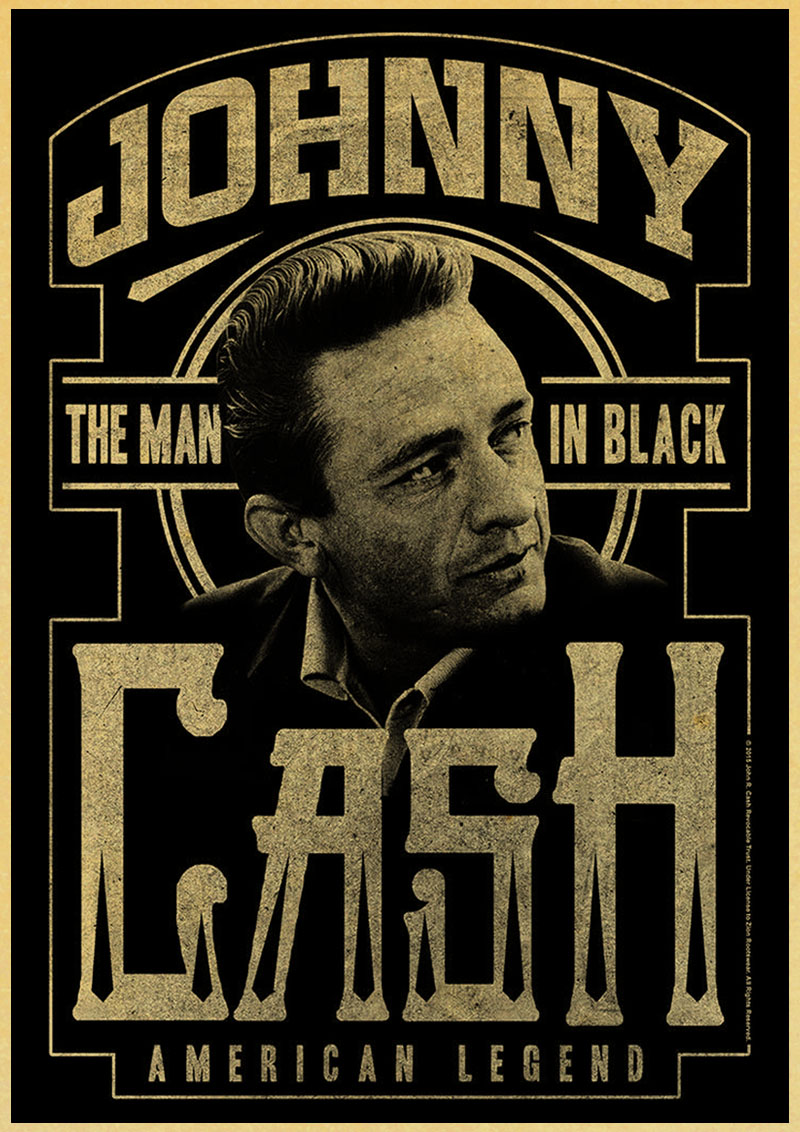 Johnny Cash Country Music Singer Vintage poster retro poster Painting Home  Room Decor Kraft paper Wall stickers|wall sticker|poster retrovintage poster  - AliExpress