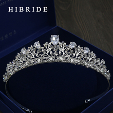 HIBRIDE AAA CZ Tiara King Crown Wedding Hair Jewelry Micro Pave Party Headpiece White Gold Color Bridal Accessories HC00021