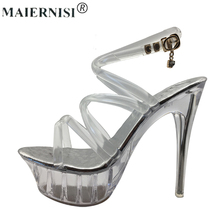 Summer Platform sexy clear pvc strappy sandals Shoe for stripper pole dance Women Large Size High heel Big Pump Lady female Plus(China)