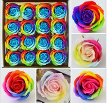 16pcs rose soap flower soap creative Colorful soap rose flower heads rainbow wedding flower rainbow soap wedding decoration