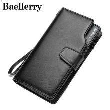 Baellerry Solid PU Leather Purse Long Folded Wallet Men Wallets Multifunctional Males Handbag Business Brand Clutch Bags VK005