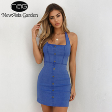 Buy NewAsia Summer Dresses Denim Dress Halter Backless Bodycon Dress Sexy Sleeveless Jeans Dress Women Casual Beach Mini Vestidos