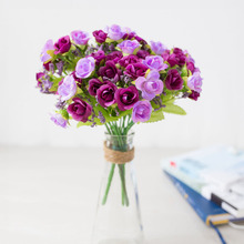 1 Bouquet 21 Heads Artificial flower Simulation Diamond Rose Fake Silk Flower Home Wedding Decoration Valentine High Quality
