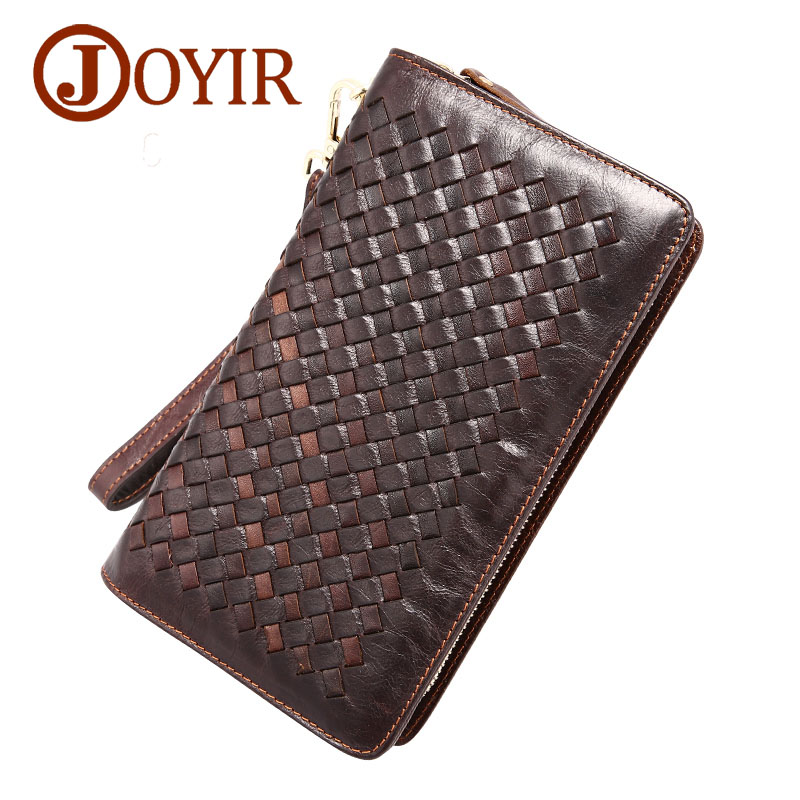 Famous Brand mens genuine leather wallet clutch purse travel long wallets bag knitting style male coin purse men wallets<br>