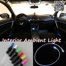 For SsangYong Rexton 2001-2016 Car Interior Ambient Light Panel illumination For Car Inside Cool Strip Light Optic Fiber Band