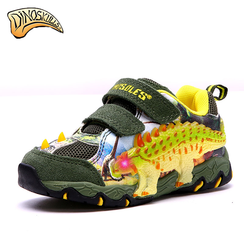 Dinoskulls 2017 new spring and autumn childrens shoes breathable non-slip with light boy casual dinosaur shoes<br>