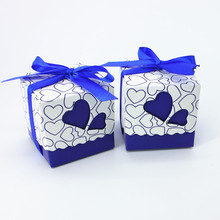 50pcs/lot Royal Blue Wedding Candy Box Sweet Heart Wedding Favors and Gifts Baby Shower Souvenirs Christmas Decorations Present