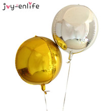 JOY-ENLIFE 1pcs 22inch Gold/Silver 4D Round Sphere Shaped Aluminum Foil Balloon Wedding Marriage Birthday Party Decor Supplies(China)