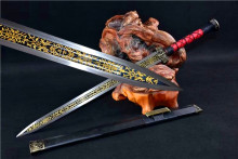 Chinese Han Jian Sword Black Gilt High Manganese Steel Sharp Blade Ebony Sheath Full Tang(China)