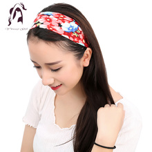 Fashion Women Elastic Headband Floral Head Wrap Girl Turban Hair Accessories Retro Party Apparel Hair Bands 2017(China)