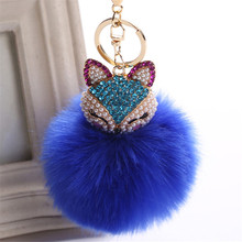 Fancy&Fantasy New Rabbit 8cm Fur Ball Keychain Fox Head Inlay Pearl Rhinestone Car Key Chain Handbag Key Ring Delicate