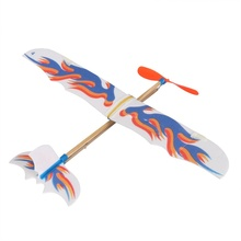 DIY Kacakid Plastic Foam Elastic Rubber Powered Flying Plane Kit Aircraft Model Educational Toy Best Chirsmas Gift For Children(China)