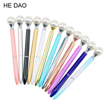 1pcs Kawaii Colorful Pearl Metal Ball Pens Queen's Crutch Ballpen Gift Ballpoit Pens School Supplies Boligrafos Material Escolar