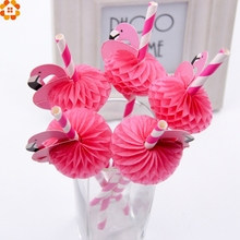 12PCS  Flamingo Multi colors 3D Straw Bendy Flexible paper  Drinking Straws Kids Birthday/Wedding/Pool Party Decoration Supplies