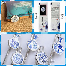 Free shipping Chinese Blue White Porcelain bookmarks Logo Words Customization party supply favor tourist souvenir Gift Pack