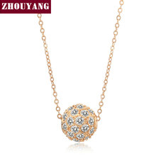 Lucky Ball 1.3CM Rose Gold Color Pendant Necklace Jewelry CZ Crystal Wholesale Top Quality ZYN252 ZYN168 ZYN264