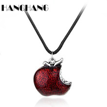 Women Around TV Jewelry Once Upon A Time Snow White Regina Crystal Poison apple Pendant Necklace Colliar Leather Cord(China)