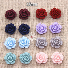 50PCS 13mm Matte Color Vintage Resin Rose Flowers Flatback Cabochon Embellishment Accessories DIY Craft(China)